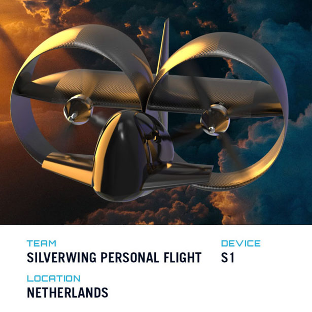 Top Five Winners of GoFly Phase II - Futuristic S1 by Silverwing Personal Flight Team