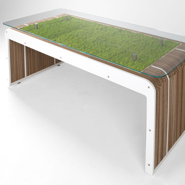 MorePlusDesk with moss Table by Giorgio Caporaso