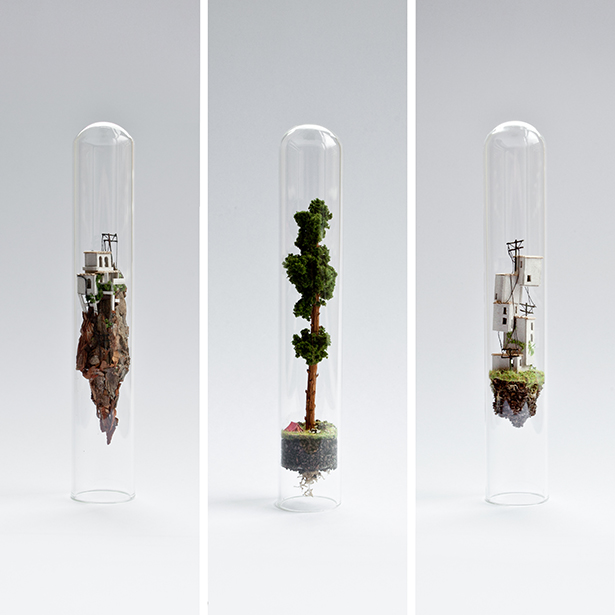 Micro Matter Miniature Sculptures in Glass Test Tubes by Rosa de Jong