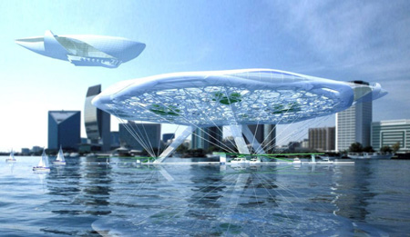 Aerotel with Hanging Gardens Above Water by Alexander Asadov