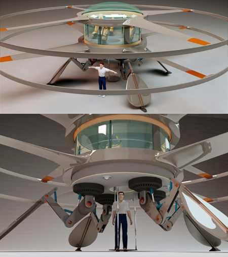 Air Alien Green Helicopter Uses Electric Energy for Pleasant Commuting