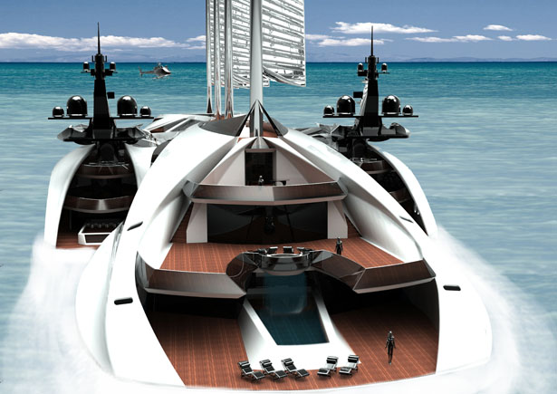 Albatross Yacht Features Two Smaller Boats That Are Ready