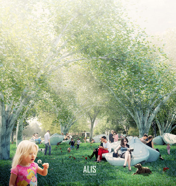 ALIS Battery Park Bench Design