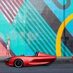 Ampere Motor Electric Roadster Features Vintage Design with Futuristic Curves and Lines