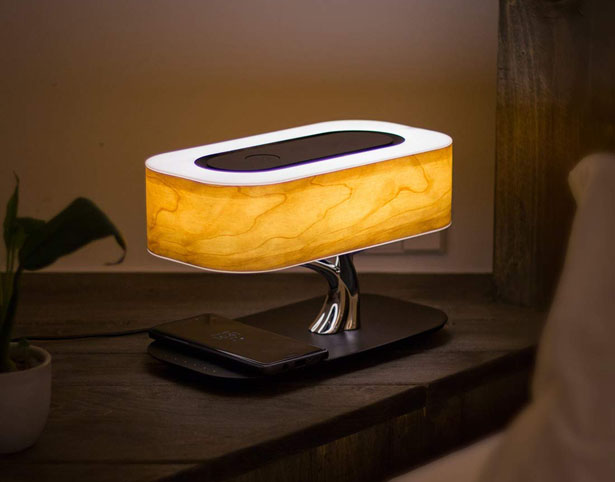 Ampulla Tree Table Lamp with Wireless Charger and Bluetooth Speaker