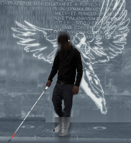 angelwing acoustic informer for blind pedestrian