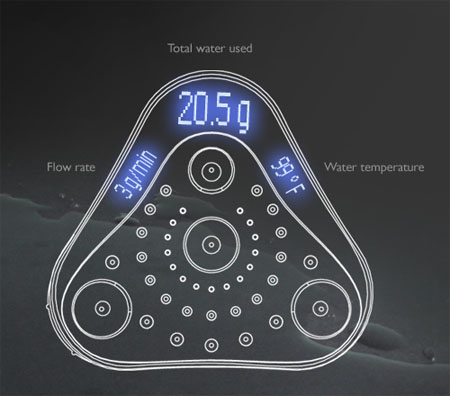aperture showerhead for water conservation