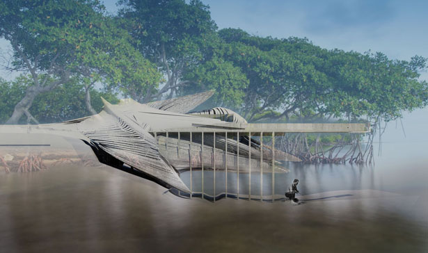 Artificial Wetland Flood Prevention Center Creates Floating Levee Piers to Divert Rising Water Levels