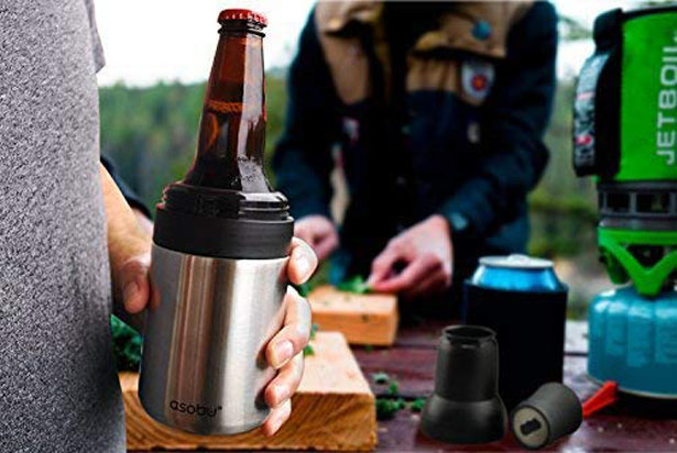 Asobu Frosty Beer 2 Go - Vacuum Insulated Stainless Steel Beer Bottle and Can Chiller