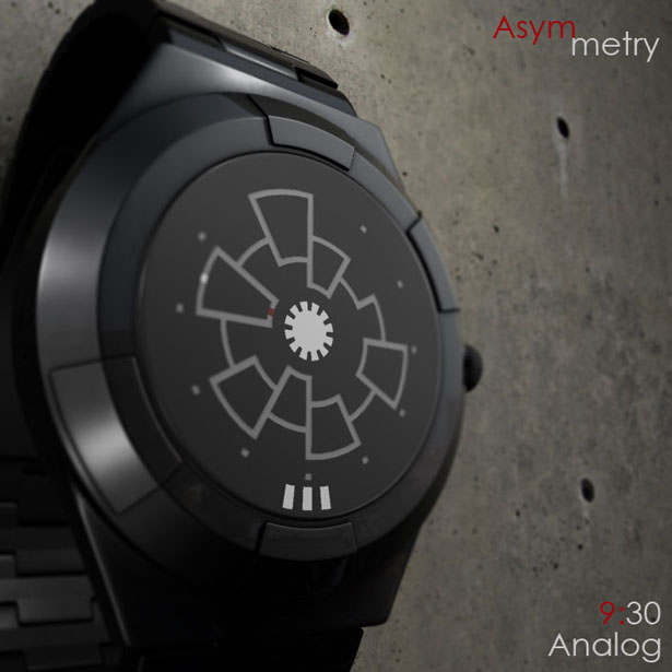 Asymmetry Analog Watch Concept for TokyoFlash