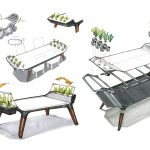 AVIA Dining Table With Small Hydroponic Gardens by Gavin Rea