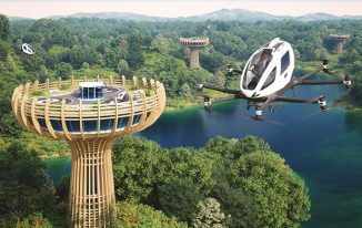 Ehang Baobab Eco-Sustainable Vertiport for Eco Air Tourist Experience