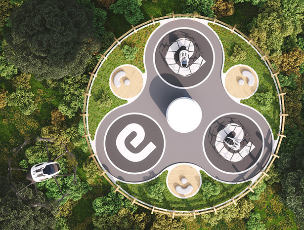 Ehang Baobab Eco-Sustainable Vertiport by Giancarlo Zema Design Group