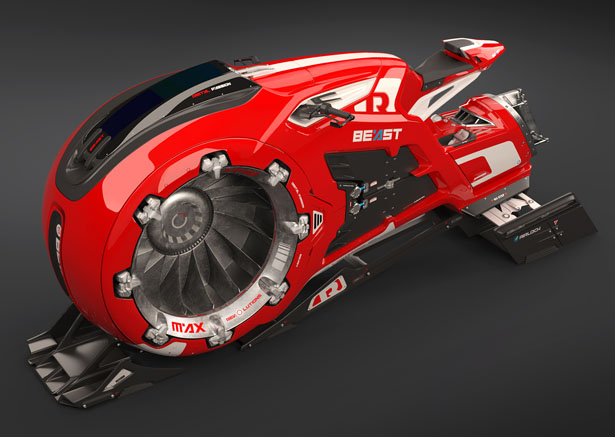 Beast : Futuristic Hover Jet Bike by Rico Kersten