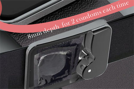 beltbuckle with sliding condom inside
