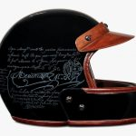Berlutti Leather Helmet Features Transparent Short Full-Face Shield, Carbon Fiber Shell, and Coolmax Padding