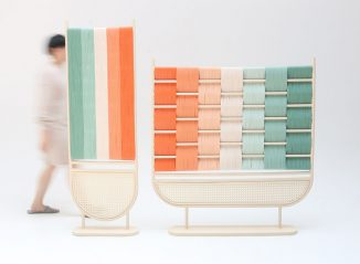 Bilid Rattan Room Divider Features Combination of Pastel Colors to Decorate Your Space