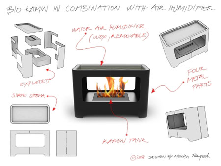 bio kamin fireplace with air humidifier