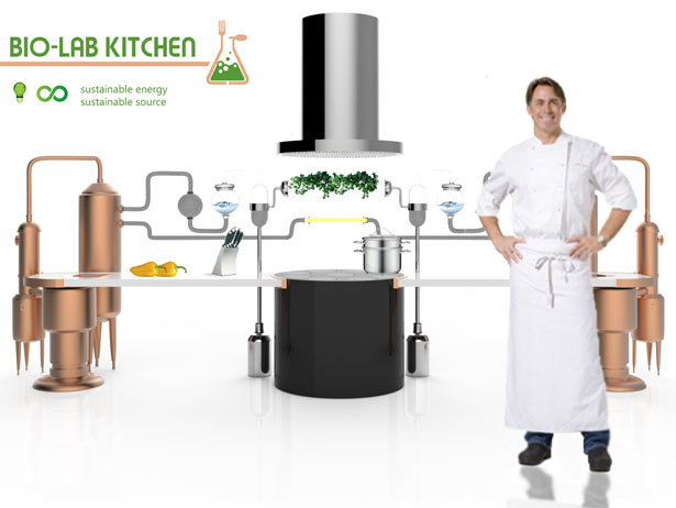 Bio Lab Kitchen Uses Biological Cycle for Preparing, Cooking, and Recycling Food