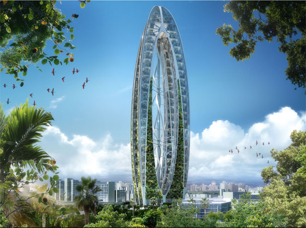 Bionic Arch Echo Tower Symbolizes Future Eco-Friendly Green Taiwan