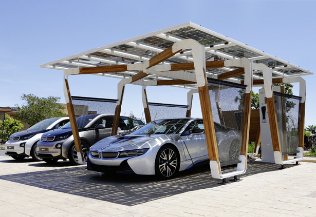 Bmw i solar carport concept with glass on