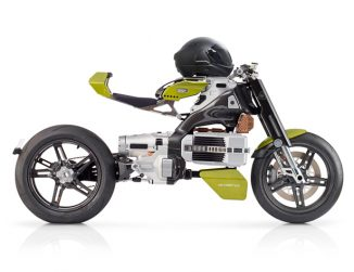 Futuristic BST HyperTEK Electric Motorcycle with Built-in Sound Generator