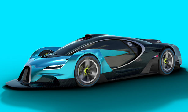 Bugatti Concept Proposal : Bugatti Inspired Futuristic Racing Car by Adrian Biggins