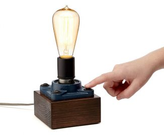 Handcrafted Cast Iron Touch Lamp with Edison-style Filament Bulb