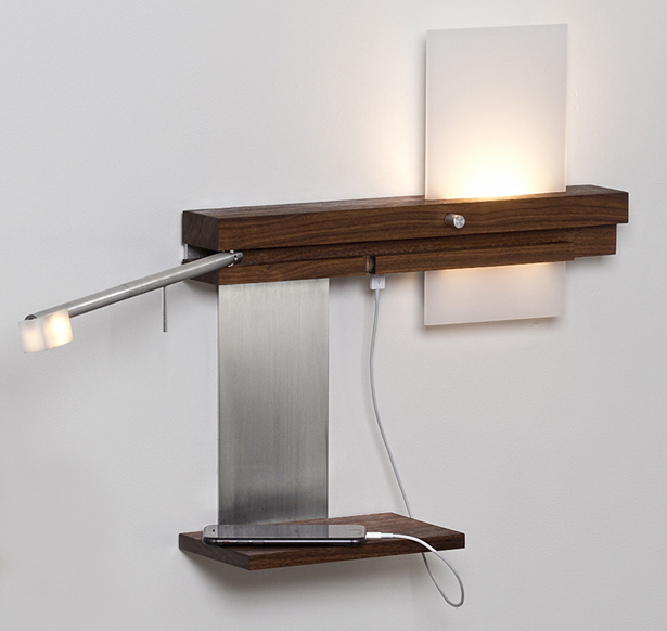Cerno Levo LED Sconce with USB Charger