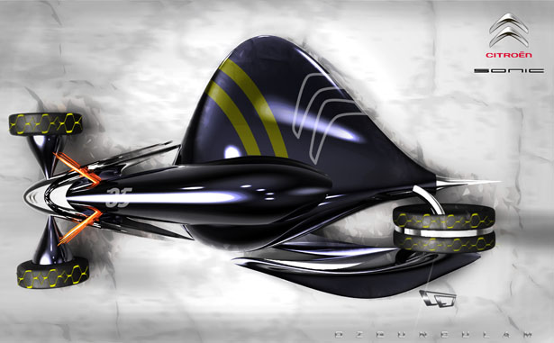 Futuristic Citroen Maglev Race Car by Ozgun Culam