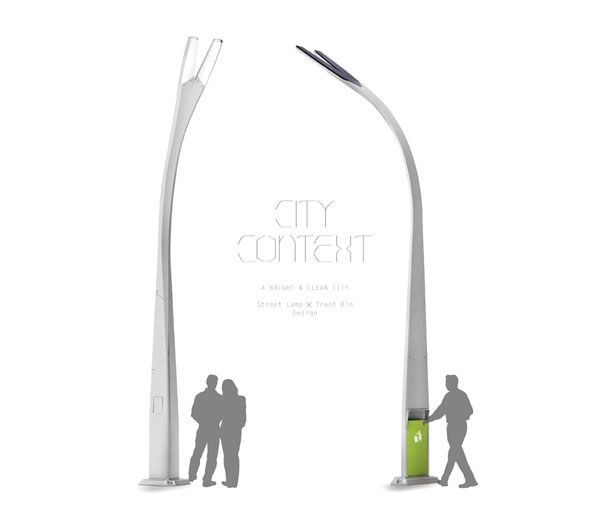 City Context Street Light and Trash Bin Design