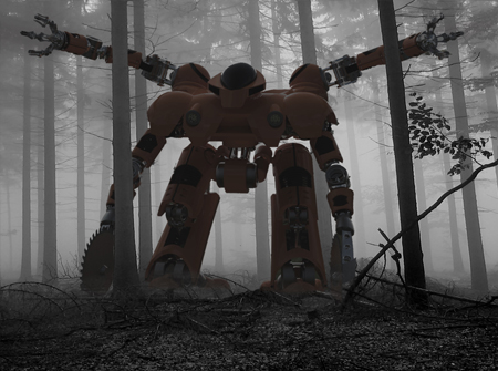 clear cut forest fire robot