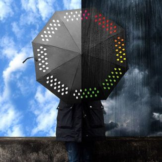 Black Umbrella Changes Into a Colorful One When Wet