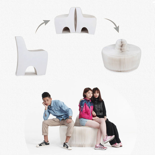 Concertina Design Paper Chair/Sofa from Auca