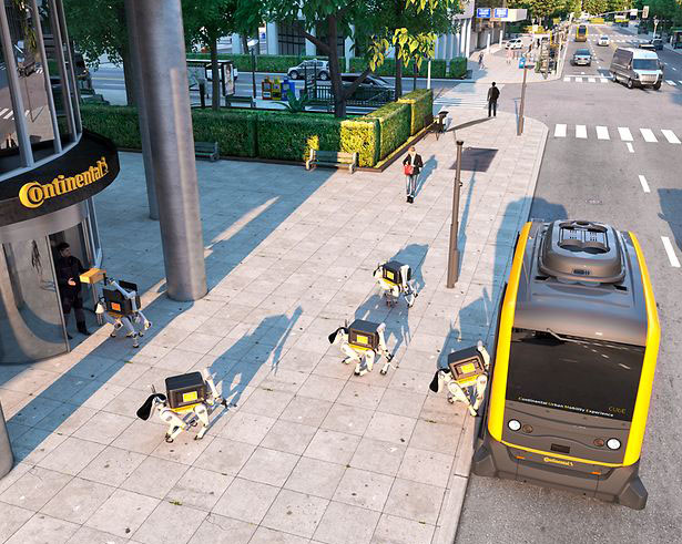 Continental Future Mobility Combines Autonomous Shuttles and Delivery Dog Robots