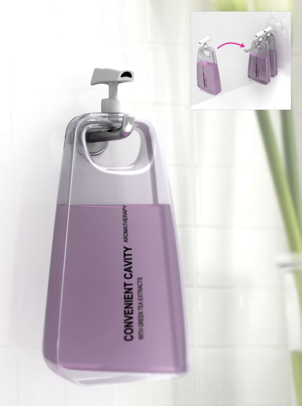Convenient Cavity Shampoo Bottle Design