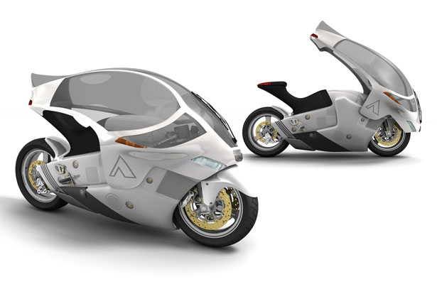 Crossbow Motorcycle : An Electric Motorcycle with A Canopy Cover by Phil Pauley