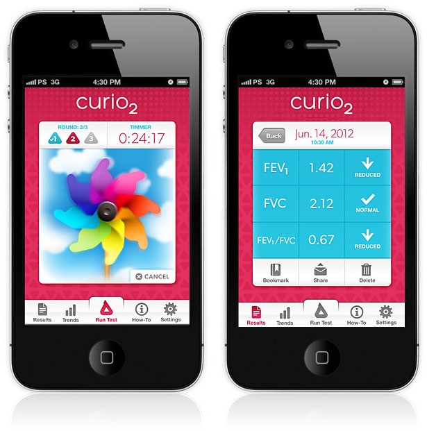 Curio2 Kid Friendly Spirometer and App by PushStart
