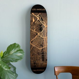 Beautiful Custom Engraved Skateboard Map to Represent Your Love of Your City Streets