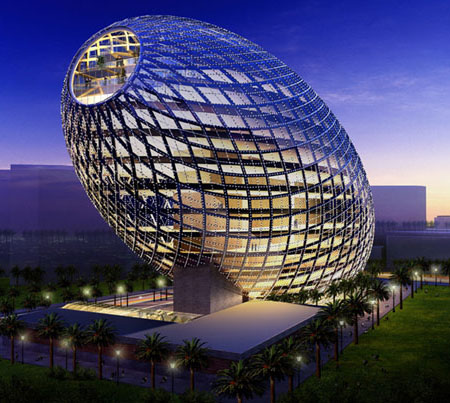 Futuristic cybertecture egg architecture with high tech solutions