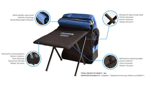 Deskit School Backpack Desk by Prosoc