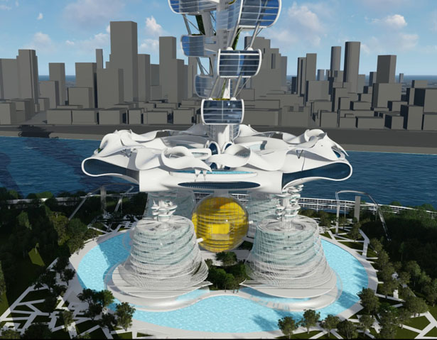 Power Long Drone-Car Tower: Condo Tower with Docking Station and Parking Tower for Drones by Richards Architecture Design