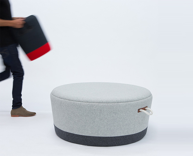 Duffel Series : Duffel Stool and Duffel Ottoman by Tim Webber Design