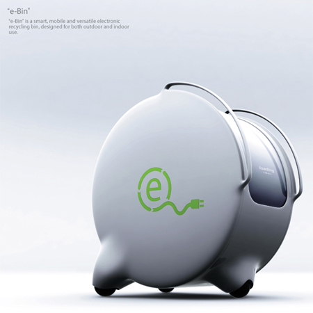 E-Bin Mobile Electronic Recycle Bin for Both Indoor and Outdoor Use