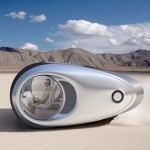 Ecco Solar Powered Futuristic Car Is A Shiny Aluminum Pod For Traveling