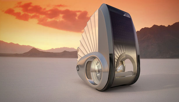 Ecco Solar Powered Futuristic Car Is A Shiny Aluminum Pod