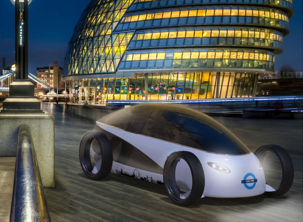 All Electric Concept Car Proposal for 'Barclays Bike Hire' System by James Langton