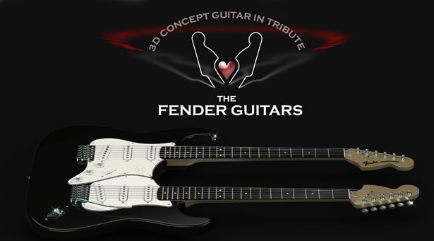 Electric Double-Neck Guitar Concept as Tribute to Fender Guitars