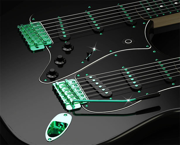 Electric Double Neck Guitar Concept as Tribute to Fender Guitars