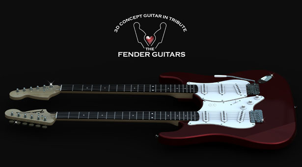 Double-Neck Guitar Concept In Tribute To The Fender Guitars